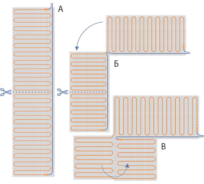 Схема розрізання мату одножильного