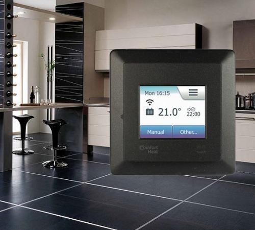 черный матовый терморегулятор Comfort TOUCH Wi-Fi Black